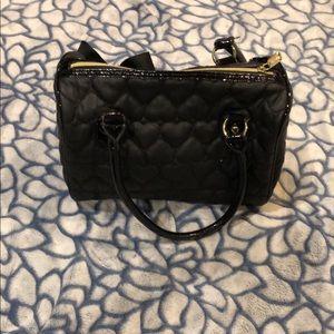 Betsy Johnson black heart handbag-black
